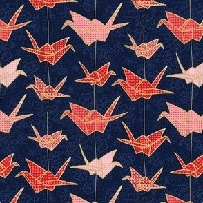 Red Origami Cranes on Navy Blue / Small Scale