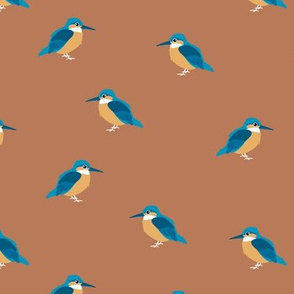 Minimalist garden kingfisher birds cute neutral nursery trend design rust copper burnt orange brown blue orange