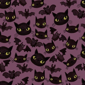 Halloween - Bats and Cats - Purple