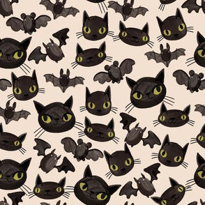 Halloween - Bats and Cats - Cream