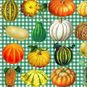 Pumpkins on green gingham