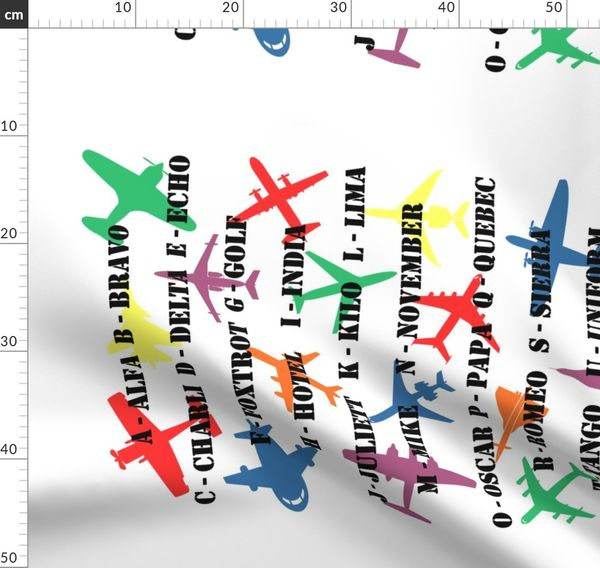 Pilot Speak Phonetic Alphabet Tea Spoonflower