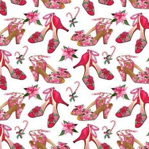 pink poinsettia christmas shoes