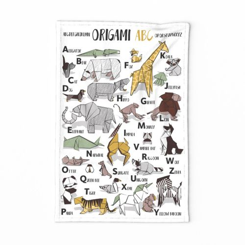 Origami ABC tea towel // white background yellow grey green and brown paper geometric animals