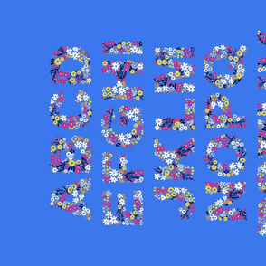 Rustic Wildflower Alphabet Tea Towel (Blue)