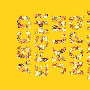 Rustic Wildflower Alphabet Tea Towel (Yellow)