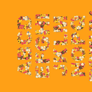 Rustic Wildflower Alphabet Tea Towel (Orange)