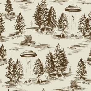 Large-Scale Brown Alien Abduction Toile de Jouy