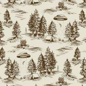 Small Scale Brown Alien Abduction Toile De Jouy Pattern