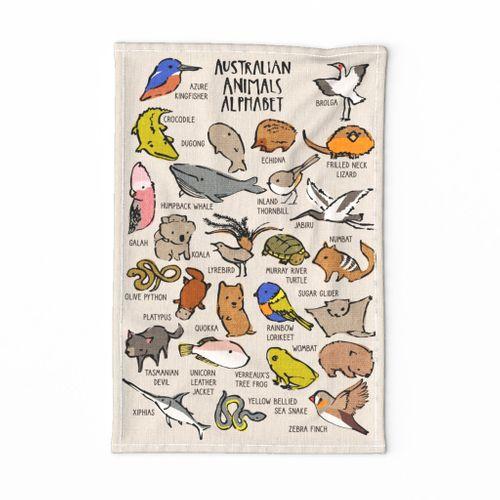 Australian Animals Tea Towel