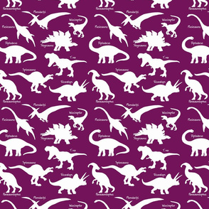 White Dinosaurs with names over Dark Purple