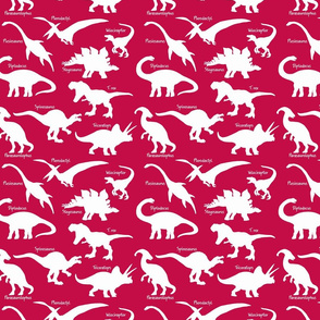 White Dinosaurs with names over Dark Pink