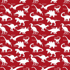 White Dinosaurs with names over Red