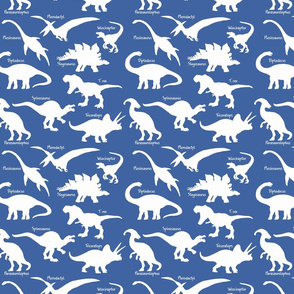 White Dinosaurs with names over Blue