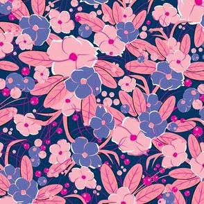 Small retro flowers. Dark pink, pink, purple on a dark blue background
