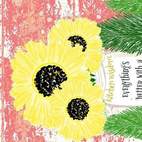 tea towel - kitchen wisdom sprinkle love dash kindness sunflower vase