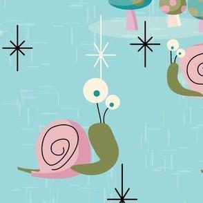 MidCentury Modern Snails-- Midcentury Atomic Snail in Aqua-- Pink Aqua Snails