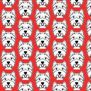smiling westies on red