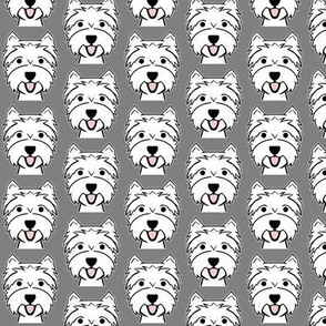 Westies on gray - West Highland Terrier fabric