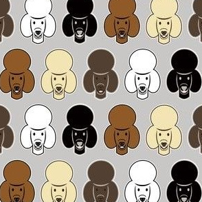 mixed poodle fabric - cute poodle faces