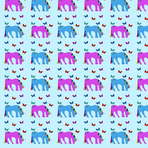 Purple & Blue Unicorns & Butterflies Blue Background, SPSD