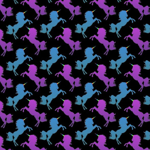 Purple and Blue Unicorn Silhouettes Black Background, SPSD