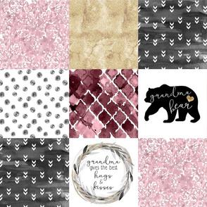 Grandma//Burgandy&Gold - Wholecloth Cheater Quilt
