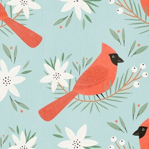Red cardinal in blue