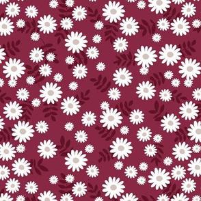 Scandinavian minimal daisy garden blossom boho daisies autumn winter nursery burgundy red