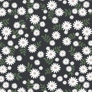 Scandinavian minimal daisy garden blossom boho daisies autumn winter nursery cameo green dark gray