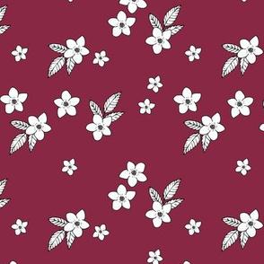 Christmas mistletoe branch and flowers seasonal winter botanical design burgundy red