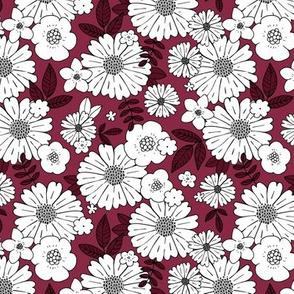 Scandinavian vintage style daisy flower garden boho botanical autumn winter christmas leaves and blossom neutral nursery burgundy red LARGE