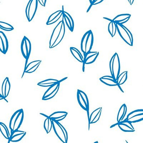 Cool blue winter garden leaves and flowers boho nursery baby