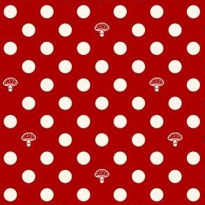 Polkadot Mushroom  - red / white