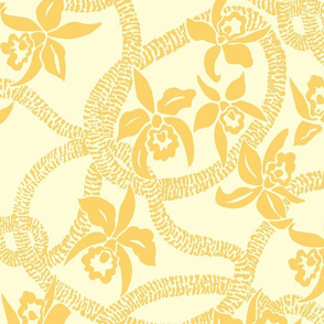 textile-Ilima Lei and Orchid final-golden yellow and beige