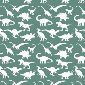 White Dinosaurs over dark green
