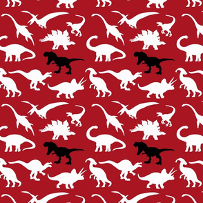 White Dinosaurs and Black T. Rex over red