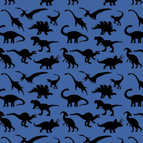 Black Dinosaurs over blue