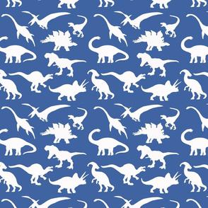 White Dinosaurs over blue