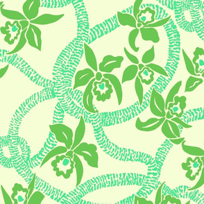 textile-Ilima Lei and Orchid final-lime and pale yellow