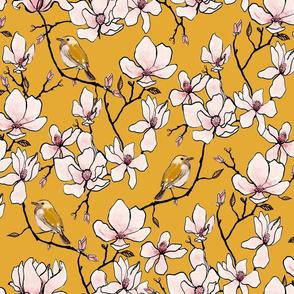 Magnolia and Birds Ochre