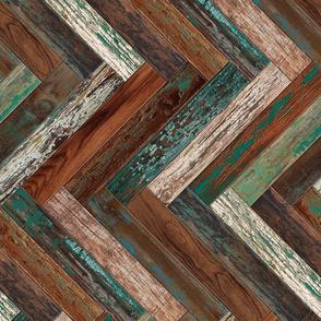 Reclaimed Boat Wood Tiles Chevron Green Teal Cream Rust Brown Herringbone Horizontal
