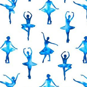 Watercolor Ballerinas One-Way Pattern (Blue) – Medium Scale