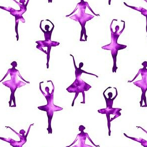 Watercolor Ballerinas One-Way Pattern (Purple) – Medium Scale