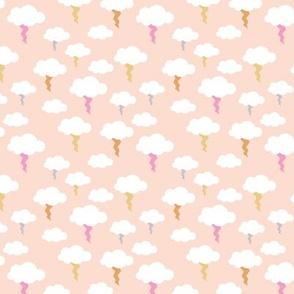 Thunder and lightening bolt kids sky neutral nursery design minimal retro style blush peach