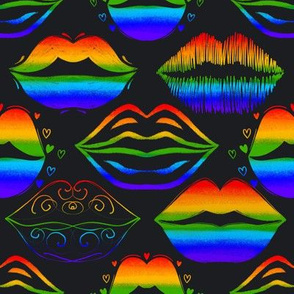 Rainbow LGBT pattern with lips