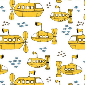 Yellow Submarine Waters deep sea ocean kids design yellow blue on white
