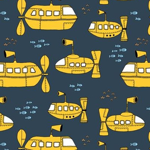 Yellow Submarine Waters deep sea ocean kids design yellow navy night blue