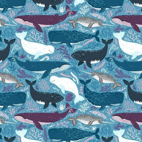 Whales. Blue background. Medium scale