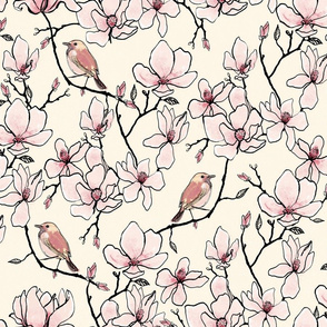 Magnolia and Birds Old Lace